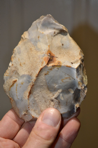 "A good sized and attractive Upper Paleolithic flint ""Piriform"" (Teardrop) shaped hand axe from Ashmore, Dorset. SOLD"